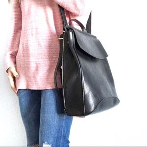 NWT Vegan Leather Black Convertible Backpack Purse